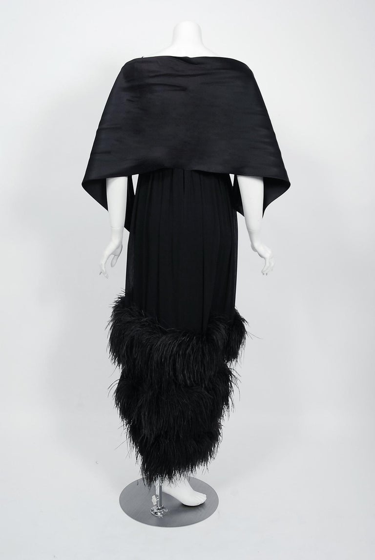 Vintage 1960's Bergdorf Couture Black Silk Ostrich Feather Empire Gown w/ Shawl For Sale 3