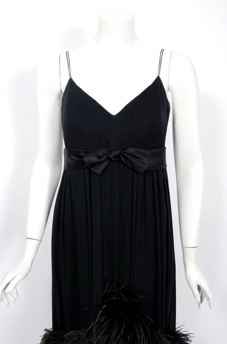 Vintage 1960's Bergdorf Couture Black Silk Ostrich Feather Empire Gown w/ Shawl In Good Condition For Sale In Beverly Hills, CA