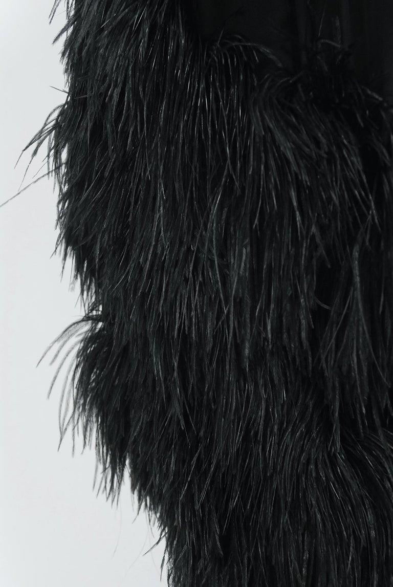 Vintage 1960's Bergdorf Couture Black Silk Ostrich Feather Empire Gown w/ Shawl For Sale 2