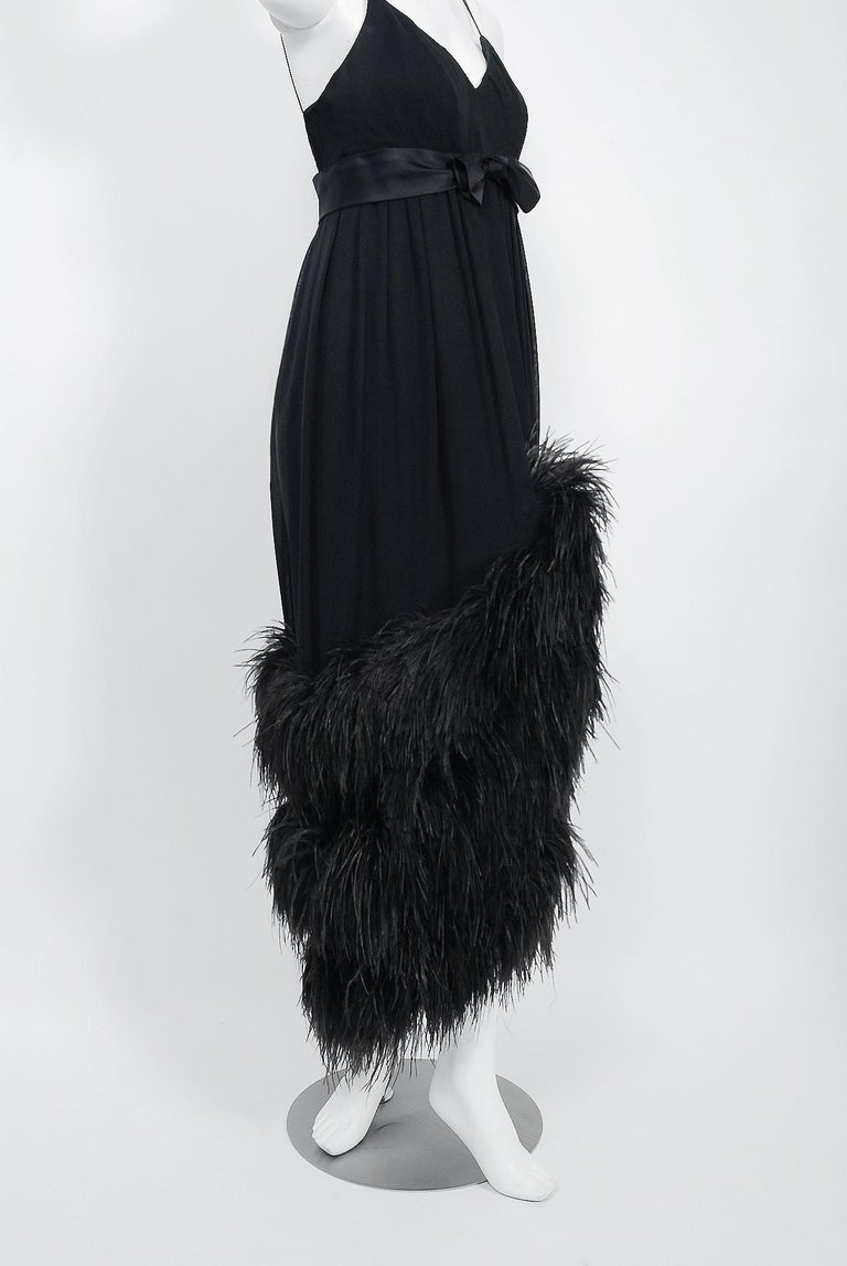 Women's Vintage 1960's Bergdorf Couture Black Silk Ostrich Feather Empire Gown w/ Shawl For Sale