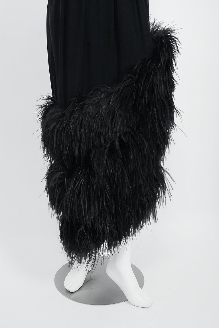 Vintage 1960's Bergdorf Couture Black Silk Ostrich Feather Empire Gown w/ Shawl For Sale 1