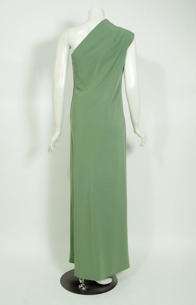 Women's Vintage 1960's Pauline Trigere Seafoam Green Crepe One-Shoulder Gown & Fur Wrap For Sale