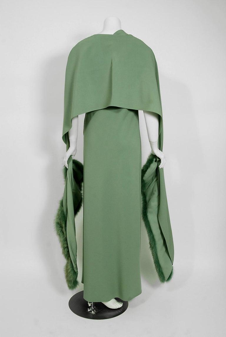 Vintage 1960's Pauline Trigere Seafoam Green Crepe One-Shoulder Gown & Fur Wrap For Sale 1