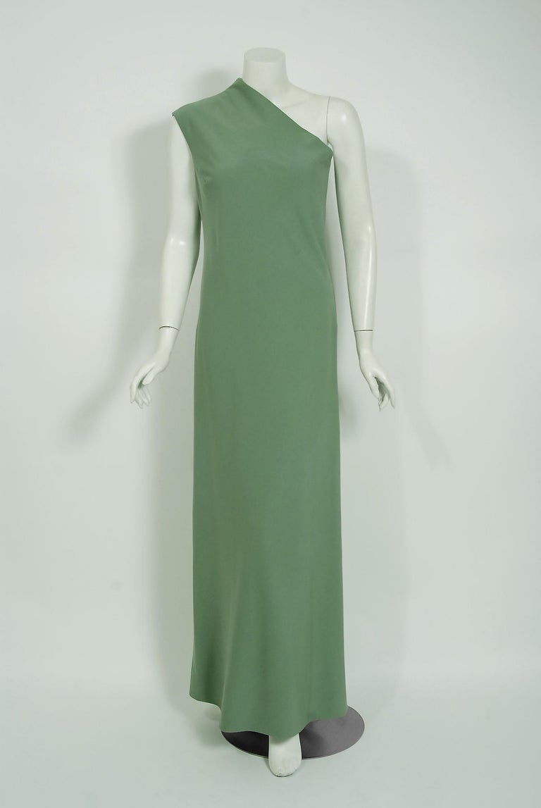 Gray Vintage 1960's Pauline Trigere Seafoam Green Crepe One-Shoulder Gown & Fur Wrap For Sale