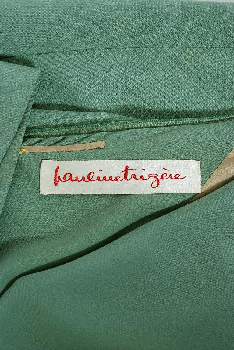 Vintage 1960's Pauline Trigere Seafoam Green Crepe One-Shoulder Gown & Fur Wrap For Sale 3
