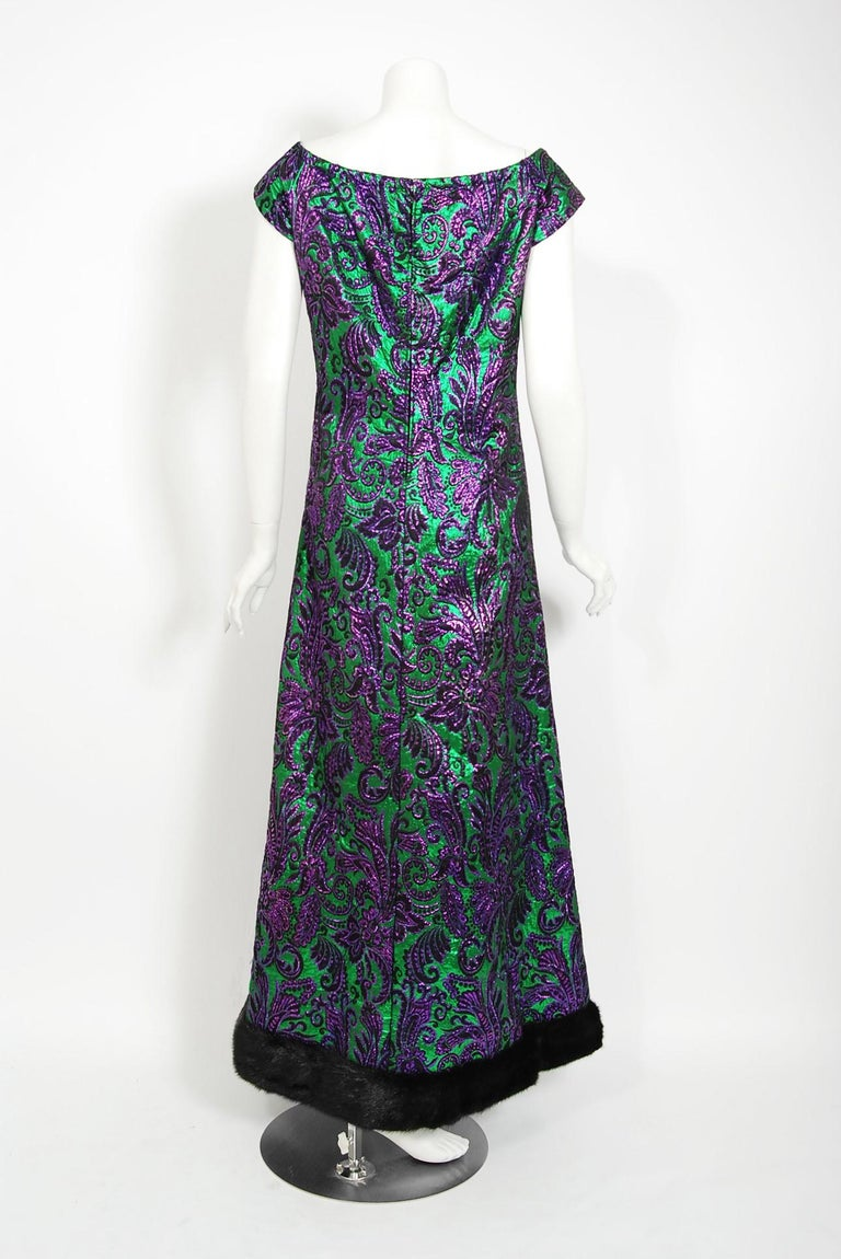 Vintage 1968 Oscar de la Renta for Jane Derby Green Purple Brocade Mink Fur Gown For Sale 1