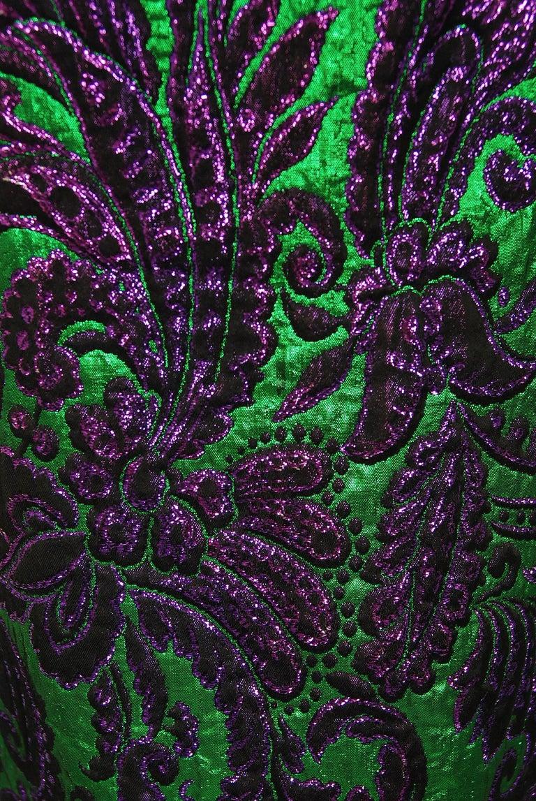 Black Vintage 1968 Oscar de la Renta for Jane Derby Green Purple Brocade Mink Fur Gown For Sale