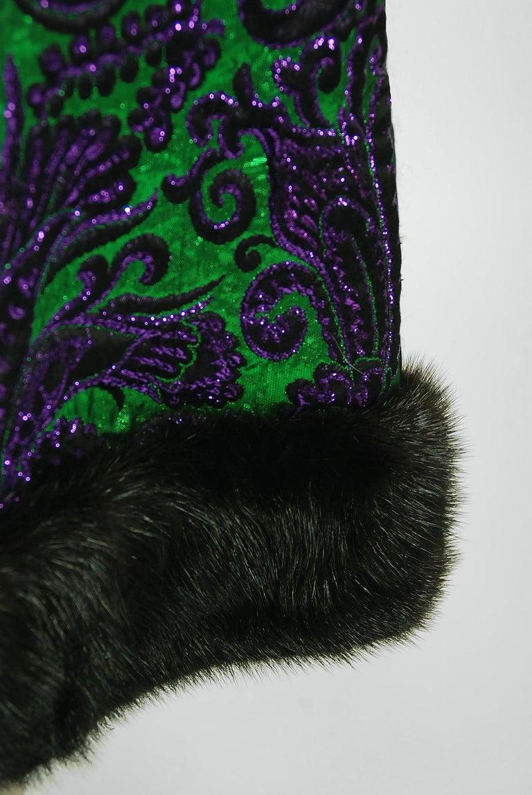 Women's Vintage 1968 Oscar de la Renta for Jane Derby Green Purple Brocade Mink Fur Gown For Sale