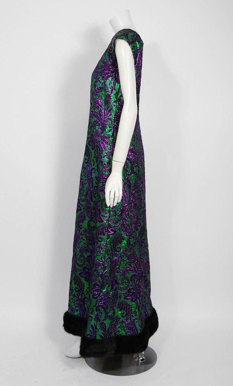 Vintage 1968 Oscar de la Renta for Jane Derby Green Purple Brocade Mink Fur Gown In Good Condition For Sale In Beverly Hills, CA