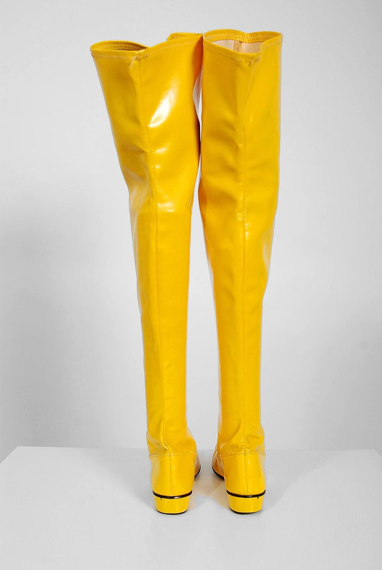 855ebaad849 ... Over-The-Knee Pull On Space Age Mod Boots For. A sensational pair of  sunshine yellow vinyl boots dating back to the late 1960 s. I