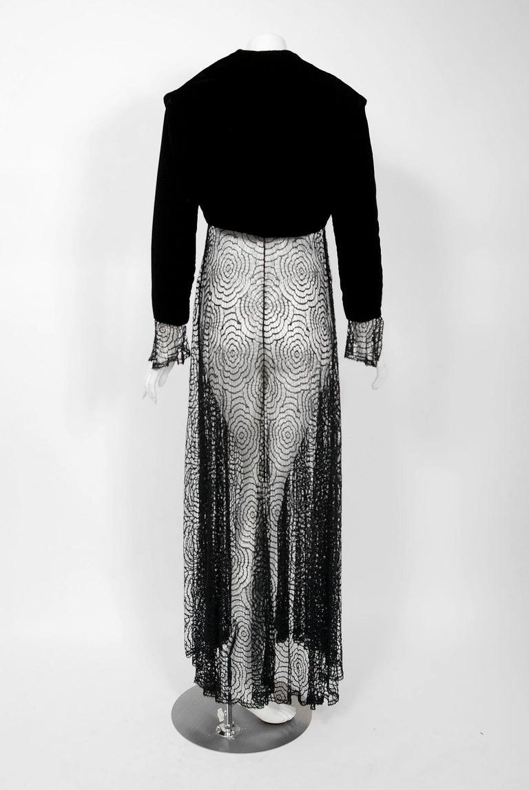 Vintage 1995 Karl Lagerfeld for Chloe Black Spiderweb Lace Velvet Dress & Jacket For Sale 1