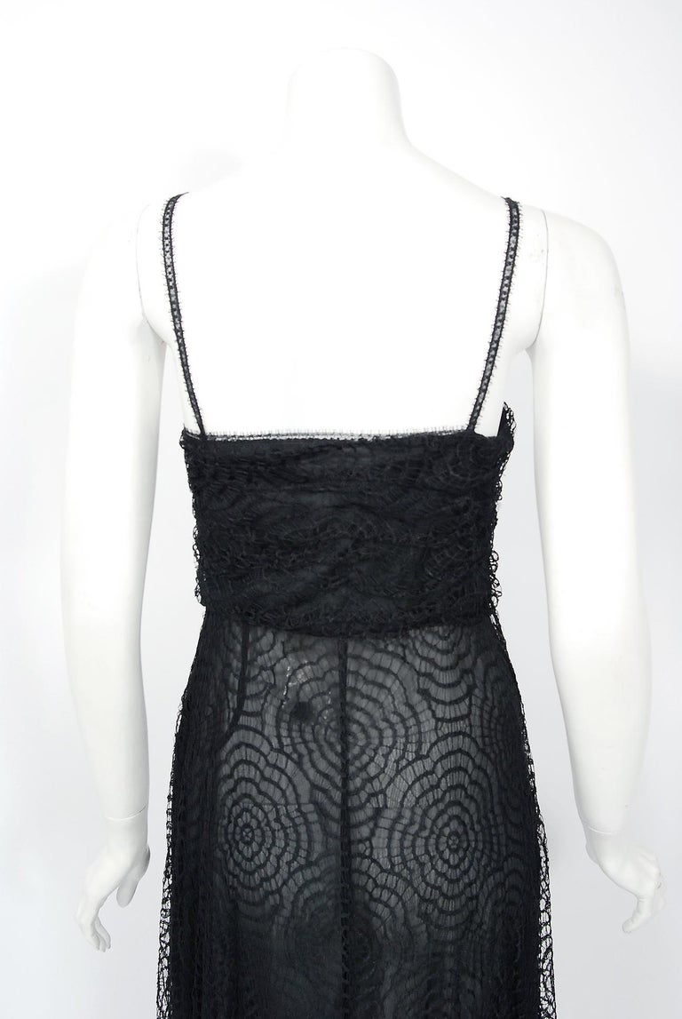 Vintage 1995 Karl Lagerfeld for Chloe Black Spiderweb Lace Velvet Dress & Jacket For Sale 4