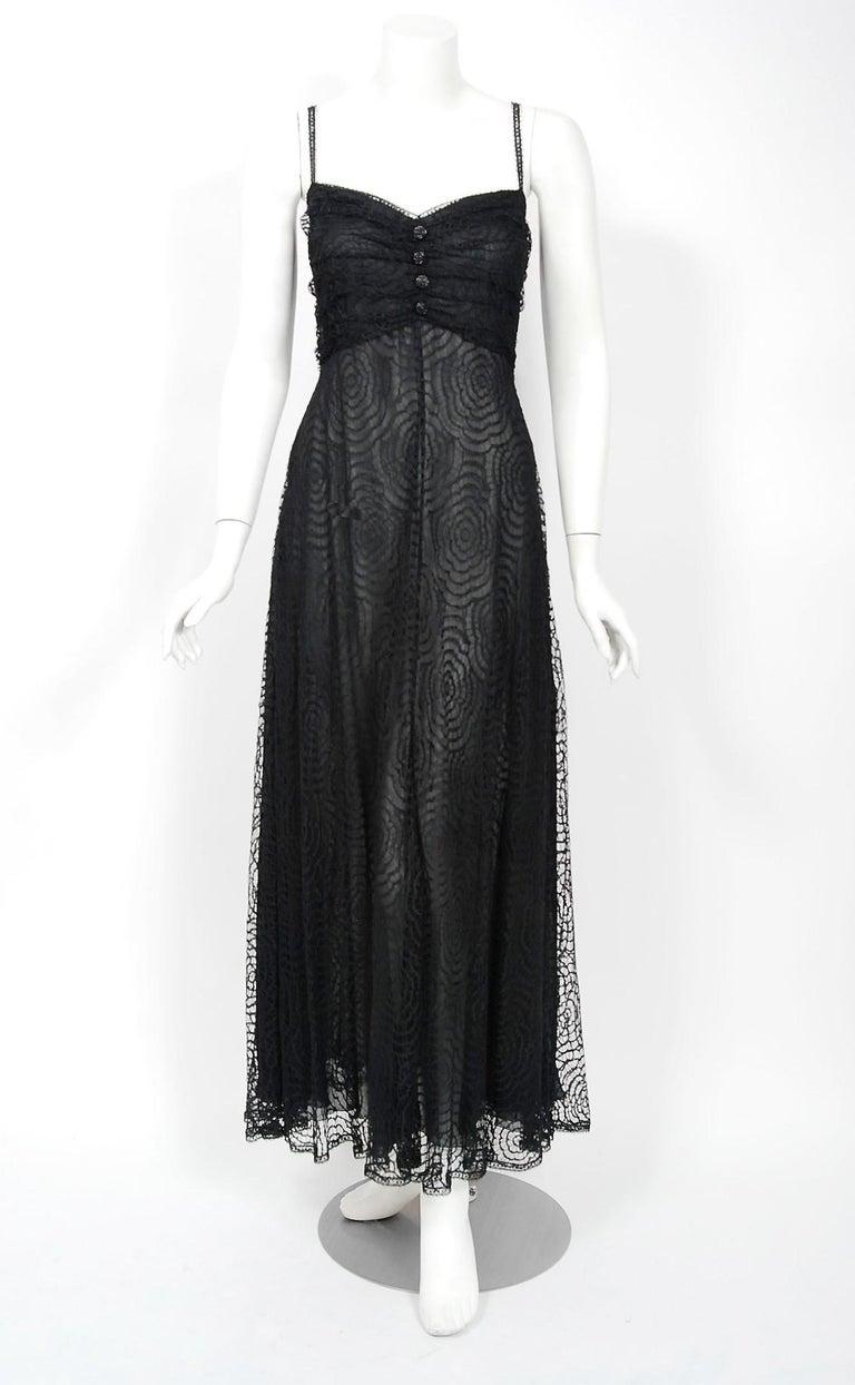 Vintage 1995 Karl Lagerfeld for Chloe Black Spiderweb Lace Velvet Dress & Jacket For Sale 2