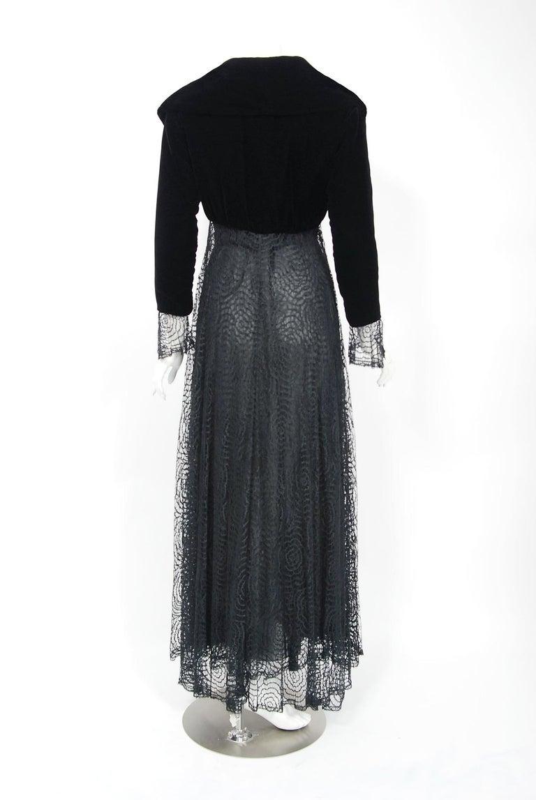 Vintage 1995 Karl Lagerfeld for Chloe Black Spiderweb Lace Velvet Dress & Jacket For Sale 7