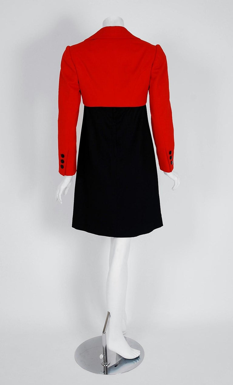 1957 Traina-Norell Red Black Wool Cropped Double-Breasted Jacket & Dress Suit For Sale 3
