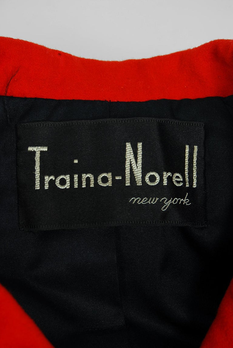 1957 Traina-Norell Red Black Wool Cropped Double-Breasted Jacket & Dress Suit For Sale 4
