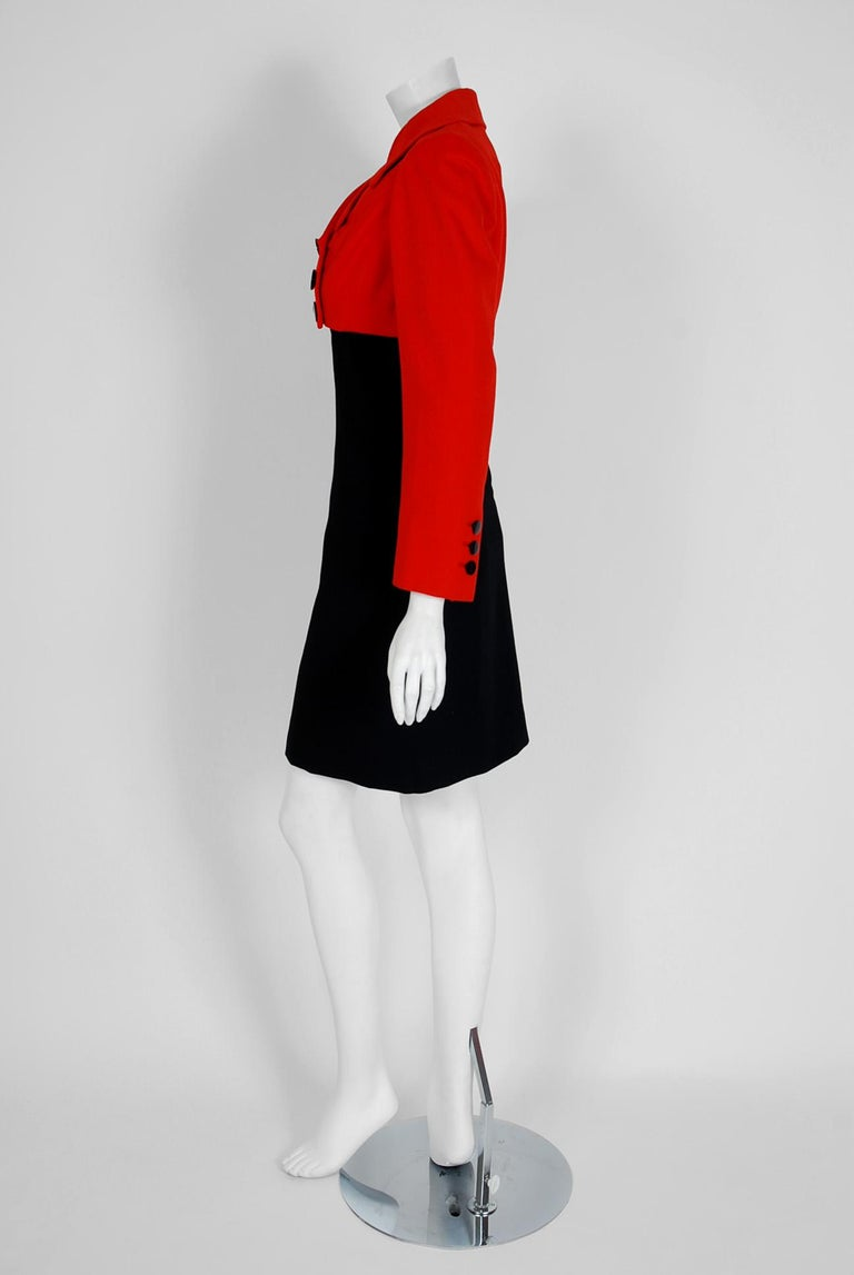 Women's 1957 Traina-Norell Red Black Wool Cropped Double-Breasted Jacket & Dress Suit For Sale
