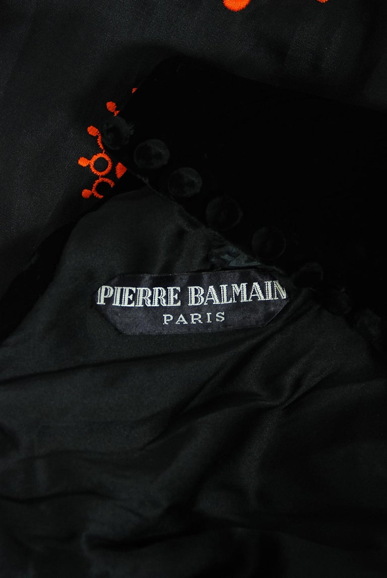 Vintage 1973 Pierre Balmain Haute-Couture Embroidered Black Organza Cut-Out Gown For Sale 6