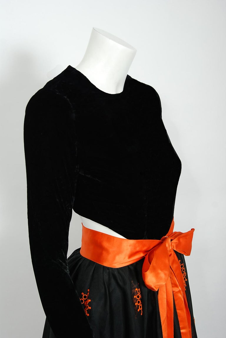 Women's Vintage 1973 Pierre Balmain Haute-Couture Embroidered Black Organza Cut-Out Gown For Sale