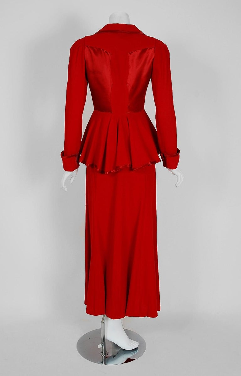 1975 Ossie Clark Red Moss-Crepe and Satin Deco Peplum Jacket wth Maxi Skirt For Sale 1