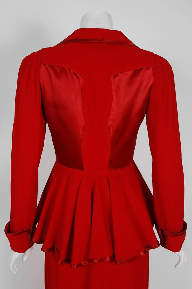1975 Ossie Clark Red Moss-Crepe and Satin Deco Peplum Jacket wth Maxi Skirt For Sale 2