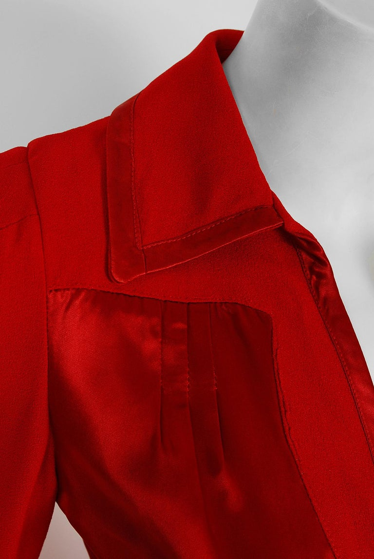1975 Ossie Clark Red Moss-Crepe and Satin Deco Peplum Jacket wth Maxi Skirt In Good Condition For Sale In Beverly Hills, CA