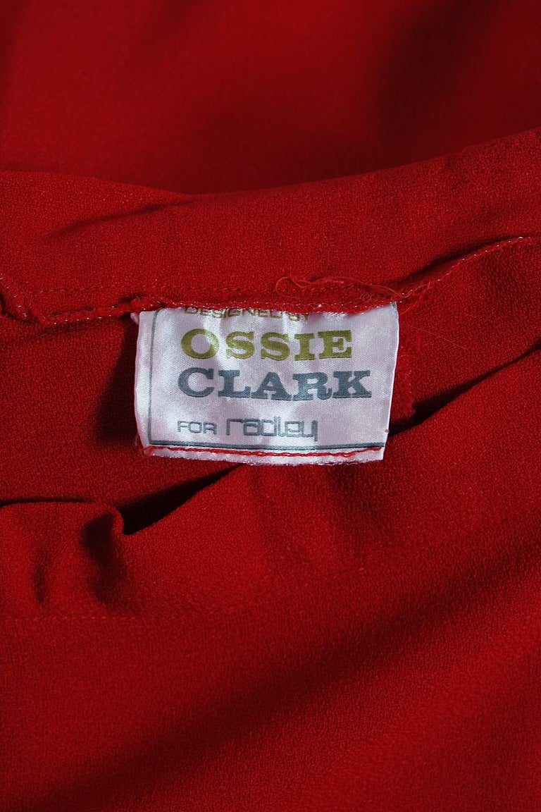 1975 Ossie Clark Red Moss-Crepe and Satin Deco Peplum Jacket wth Maxi Skirt For Sale 3