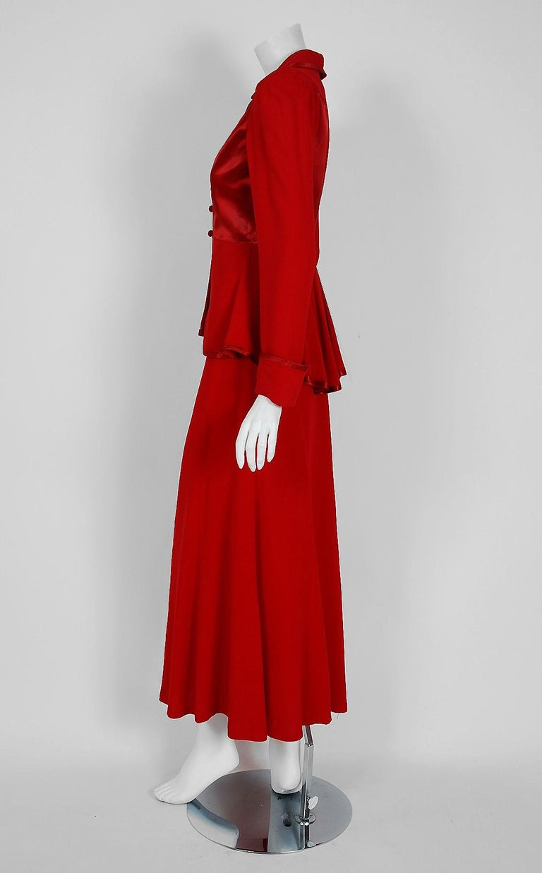 Women's 1975 Ossie Clark Red Moss-Crepe and Satin Deco Peplum Jacket wth Maxi Skirt For Sale
