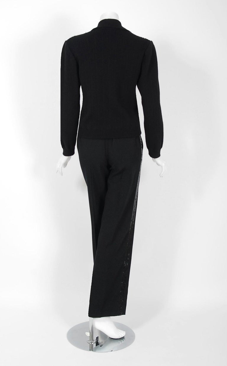 Vintage 1974 Yves Saint Laurent Sequin Black Wool Sweater Le Smoking Pants Suit For Sale 3