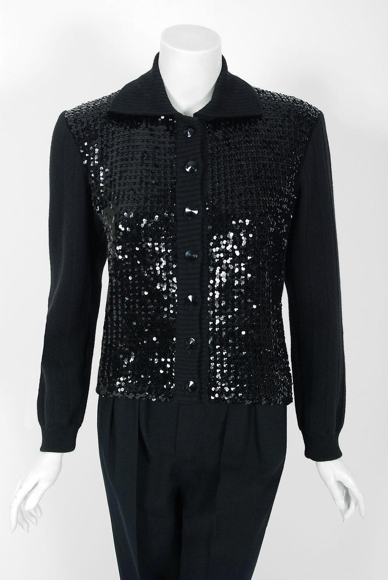 fce26927f5c First created in 1966 by famous couturier Yves Saint Laurent,. 1974 Yves  Saint Laurent Sequin Black Wool Sweater Le Smoking Tuxedo Pants Suit ...