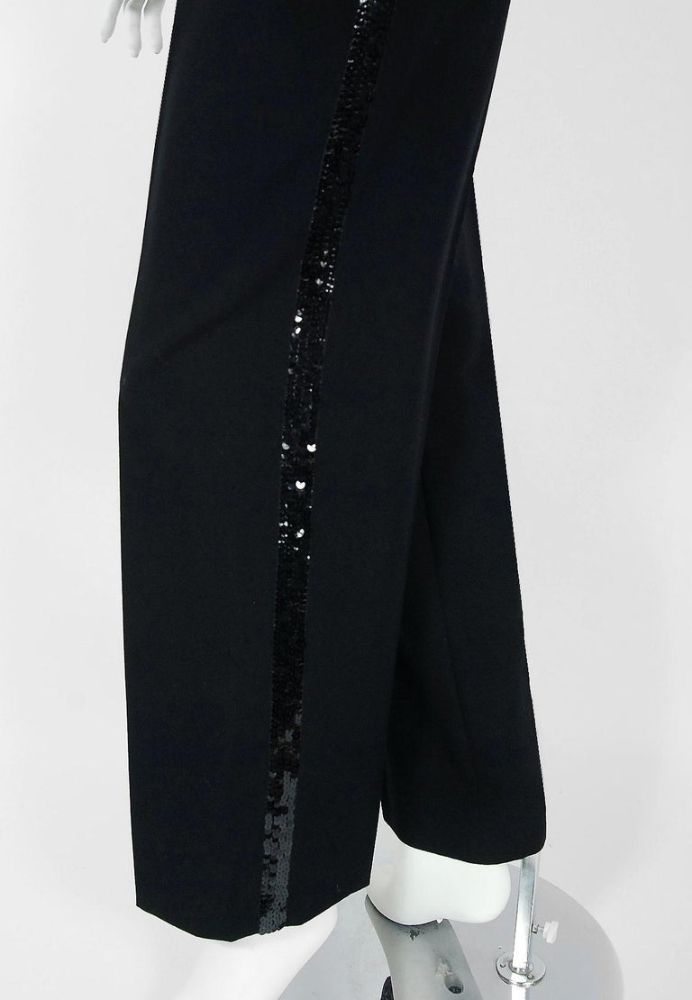 Vintage 1974 Yves Saint Laurent Sequin Black Wool Sweater Le Smoking Pants Suit For Sale 2