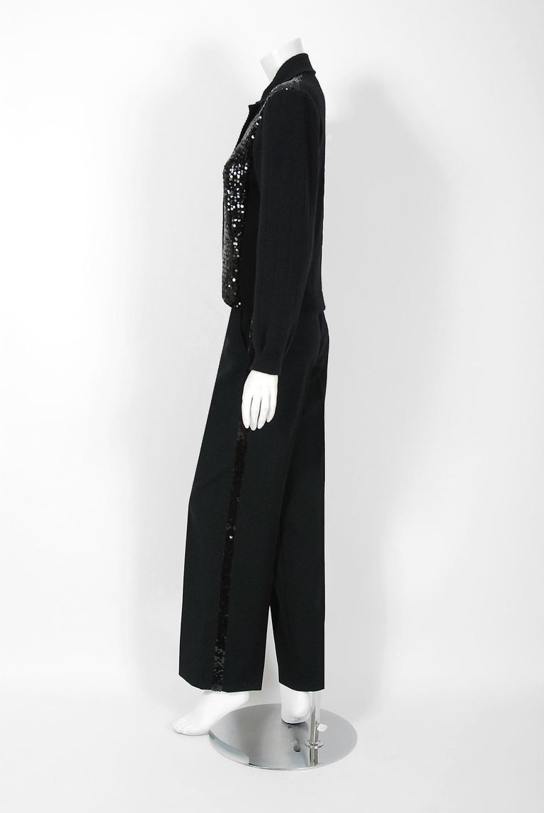d454b900157 Women's 1974 Yves Saint Laurent Sequin Black Wool Sweater Le Smoking Tuxedo  Pants Suit For Sale