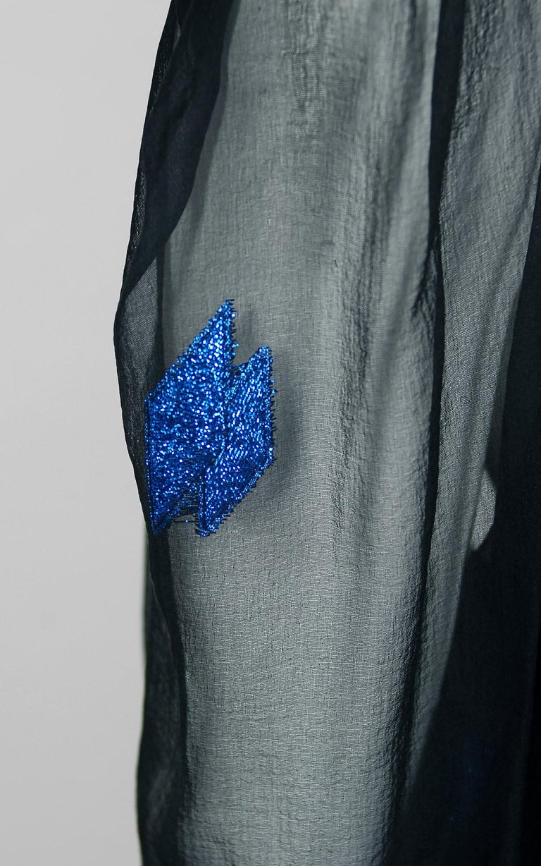 Vintage 1972 Christian Dior Metallic Black & Blue Silk Backless Draped Gown For Sale 1
