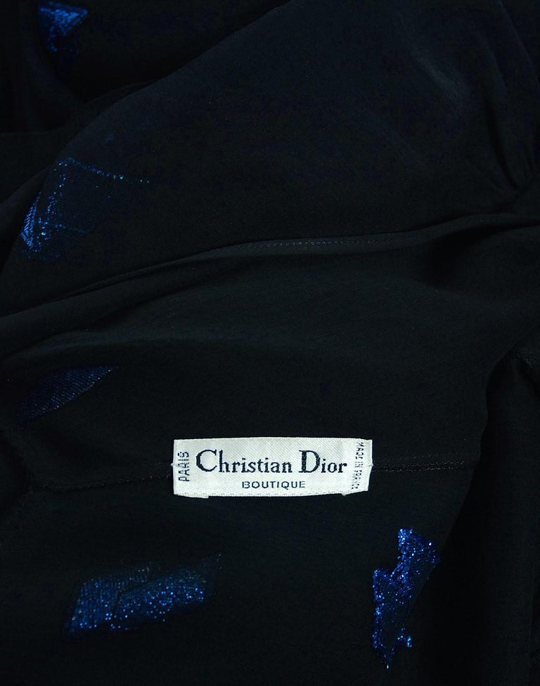 Vintage 1972 Christian Dior Metallic Black & Blue Silk Backless Draped Gown For Sale 4