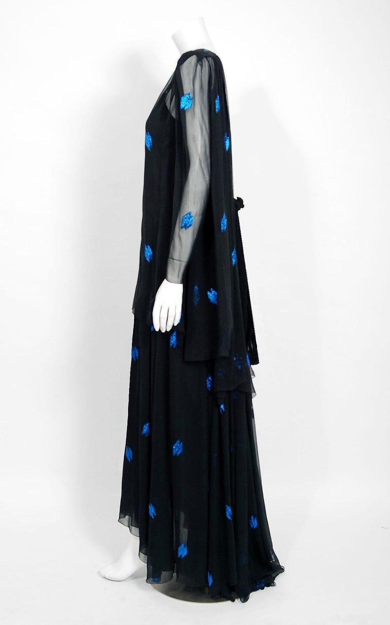 Vintage 1972 Christian Dior Metallic Black & Blue Silk Backless Draped Gown For Sale 2