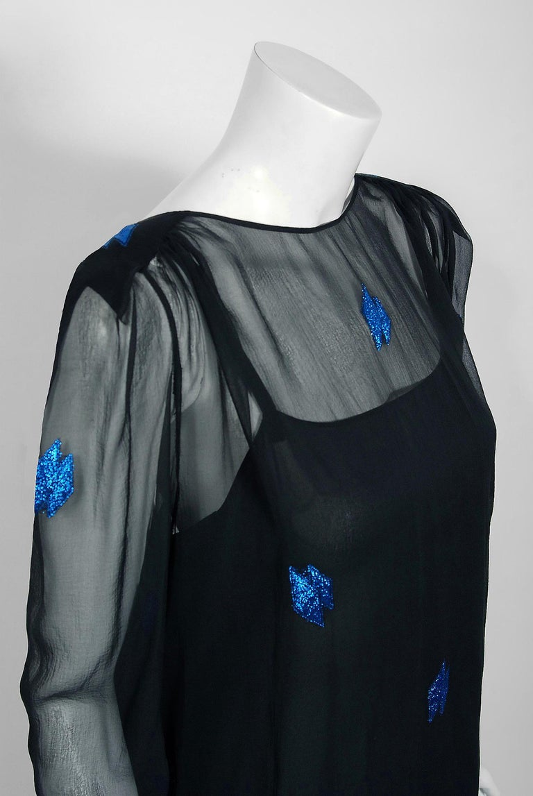 Vintage 1972 Christian Dior Metallic Black & Blue Silk Backless Draped Gown In Good Condition For Sale In Beverly Hills, CA