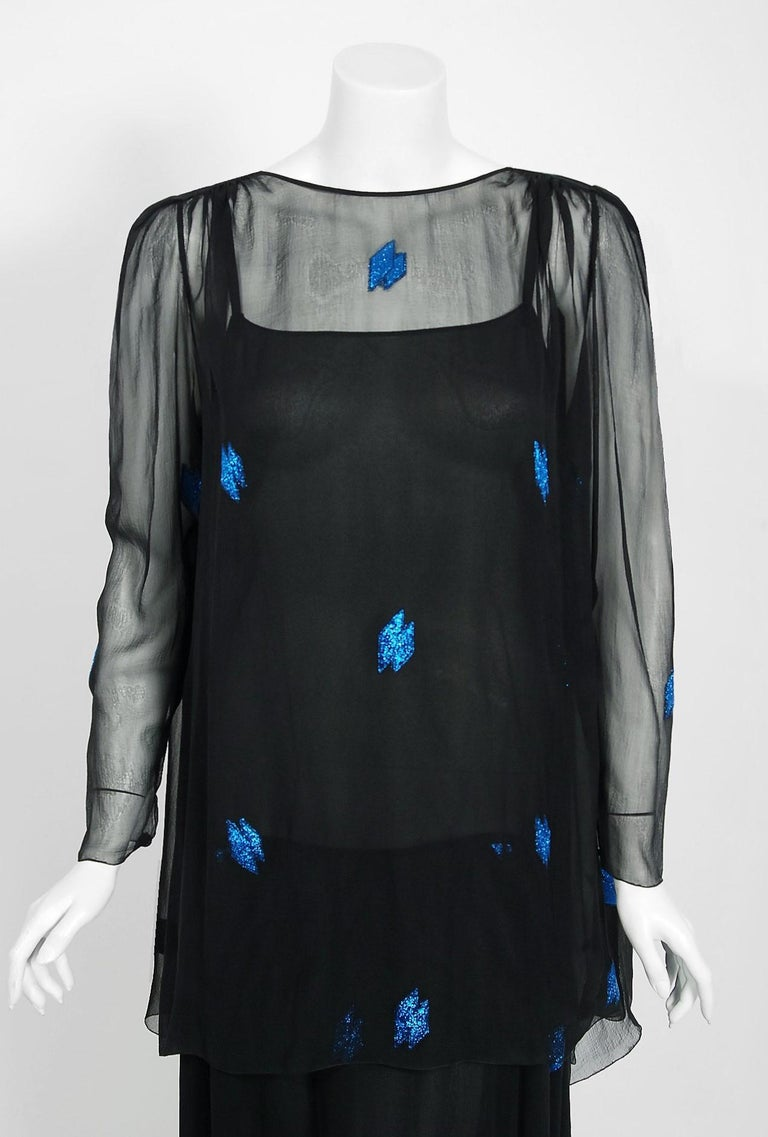 Women's Vintage 1972 Christian Dior Metallic Black & Blue Silk Backless Draped Gown For Sale