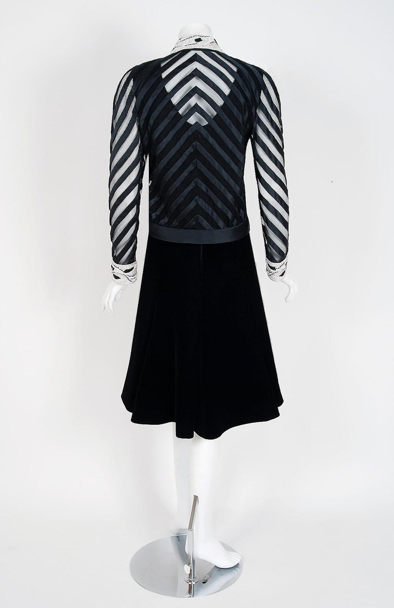 Vintage 1992 Valentino Couture Sheer-Illusion Beaded Silk Velvet Dress & Jacket For Sale 2