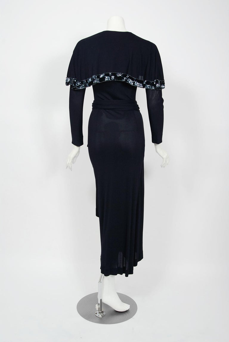 Vintage 1970's Jean Muir Beaded Sequin Navy Jersey Capelet Plunge Dress w/Tags For Sale 1