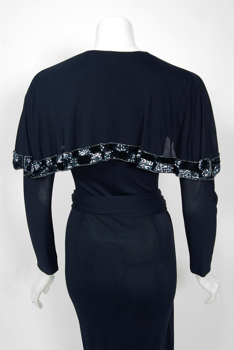 Vintage 1970's Jean Muir Beaded Sequin Navy Jersey Capelet Plunge Dress w/Tags For Sale 2