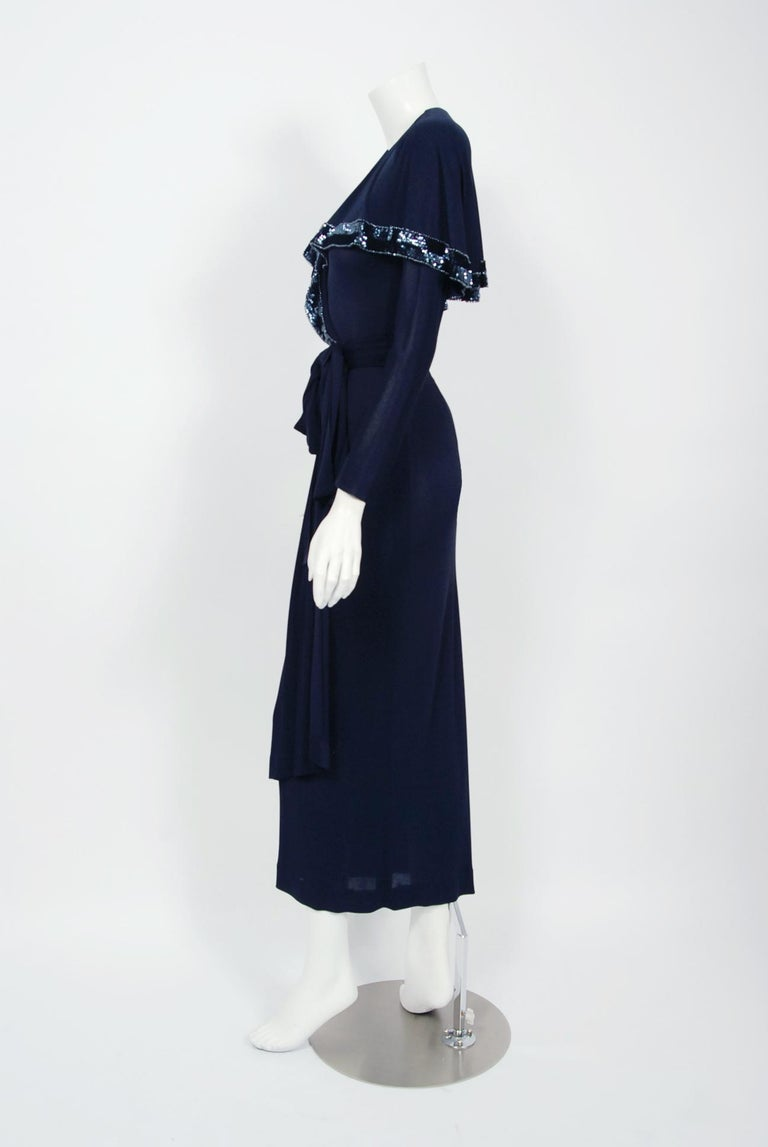 Women's Vintage 1970's Jean Muir Beaded Sequin Navy Jersey Capelet Plunge Dress w/Tags For Sale