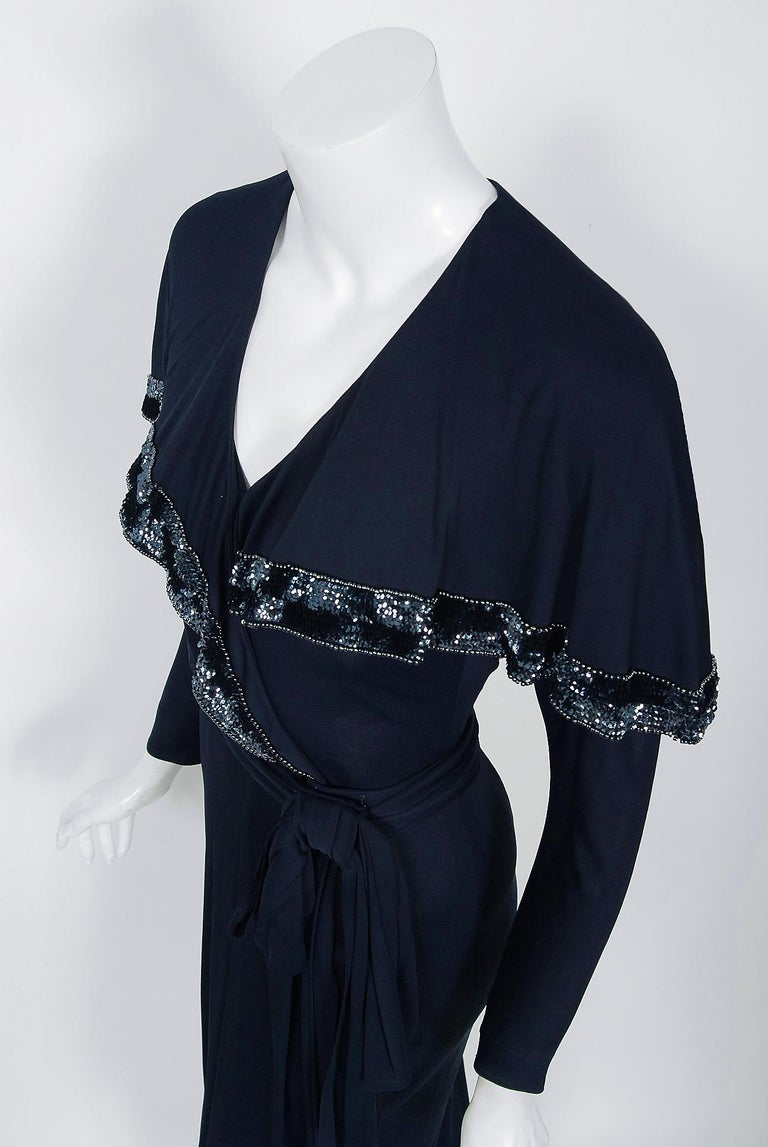 Black Vintage 1970's Jean Muir Beaded Sequin Navy Jersey Capelet Plunge Dress w/Tags For Sale
