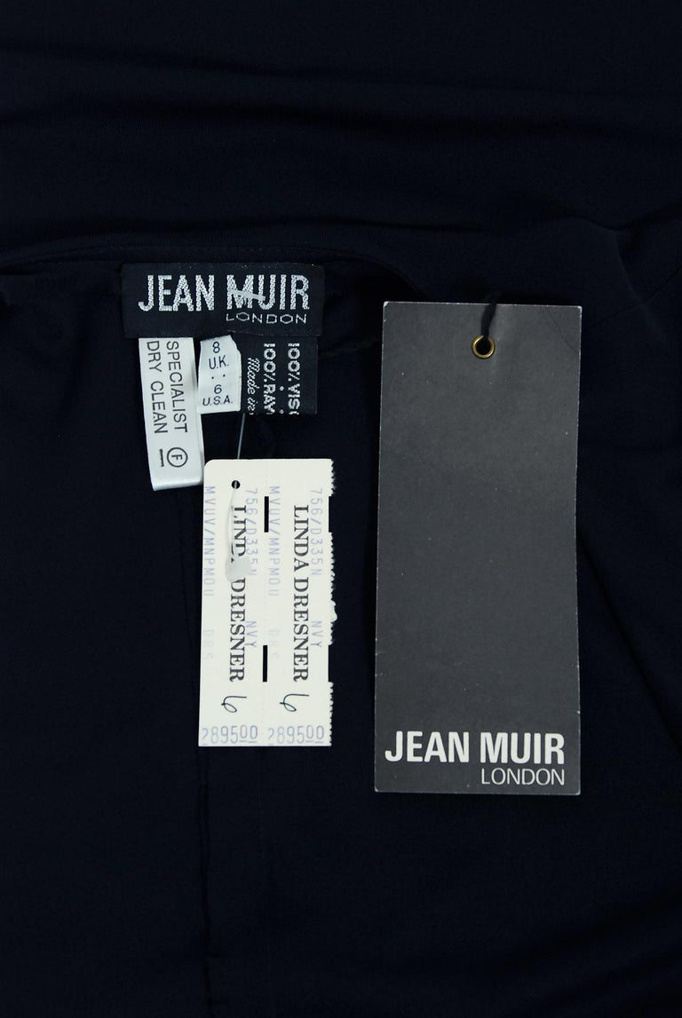 Vintage 1970's Jean Muir Beaded Sequin Navy Jersey Capelet Plunge Dress w/Tags For Sale 3