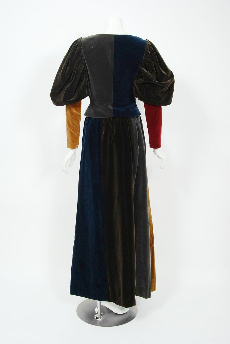 1970 Yves Saint Laurent Corset Lace-Up Mutton Sleeve Velvet Blouse & Maxi Skirt For Sale 1