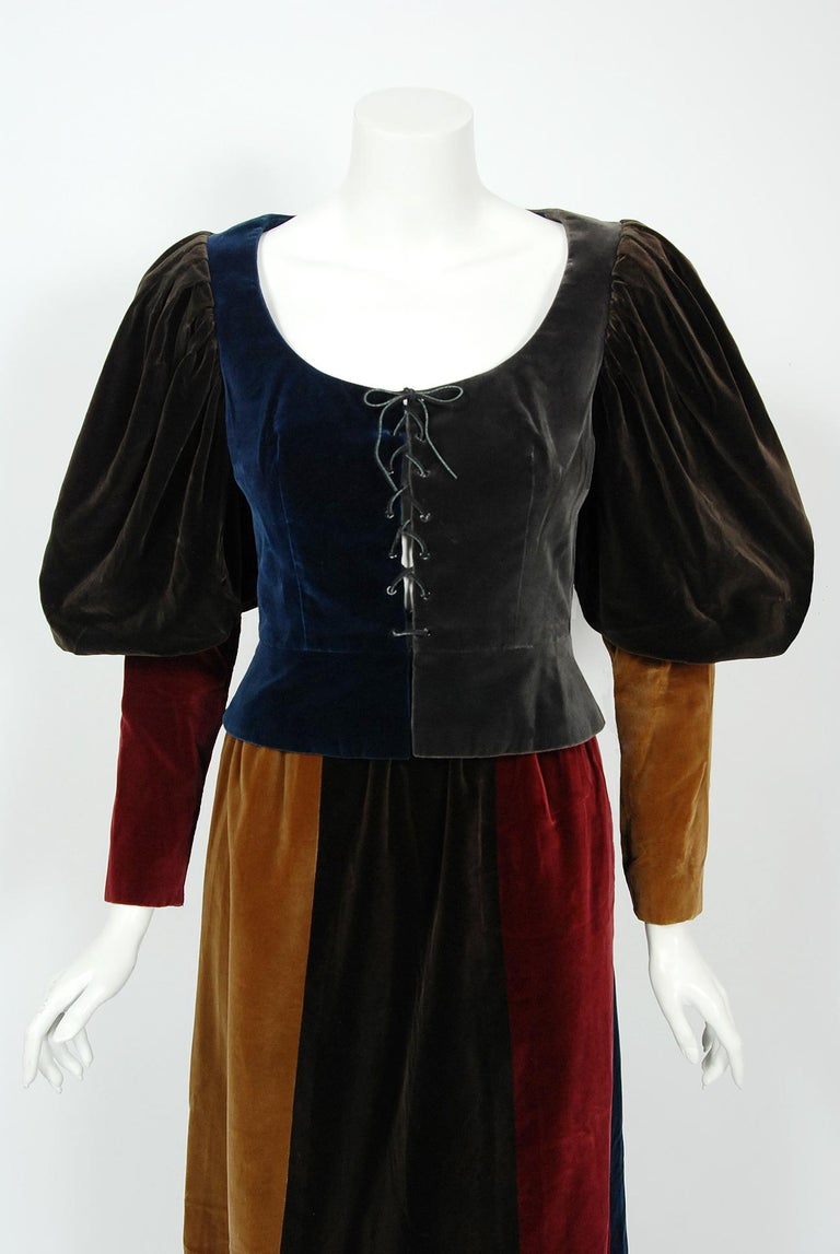Gorgeous Yves Saint Laurent block color velveteen Renaissance style ensemble from the infamous 1970 Rive Gauche collection. Pieces from this decade are very rare and are true examples of fashion history. Some of Yves Saint Laurent's most dramatic
