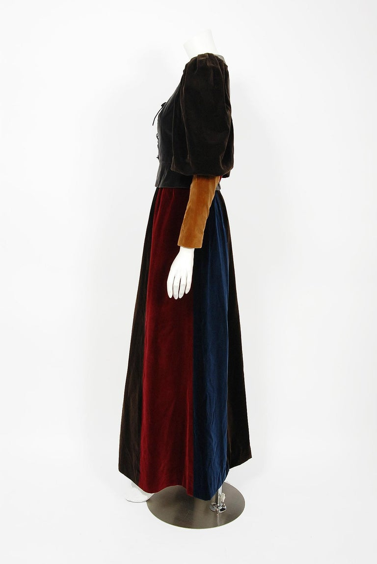 1970 Yves Saint Laurent Corset Lace-Up Mutton Sleeve Velvet Blouse & Maxi Skirt In Excellent Condition For Sale In Beverly Hills, CA