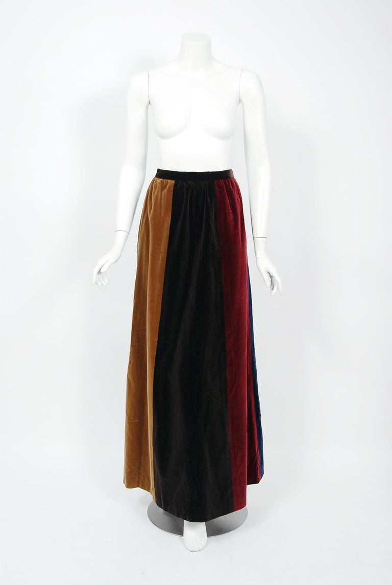 Women's 1970 Yves Saint Laurent Corset Lace-Up Mutton Sleeve Velvet Blouse & Maxi Skirt For Sale