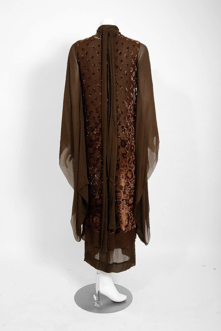 1969 Christian Dior Haute-Couture Brown Floral Flocked Silk Kimono Sleeve Gown For Sale 2