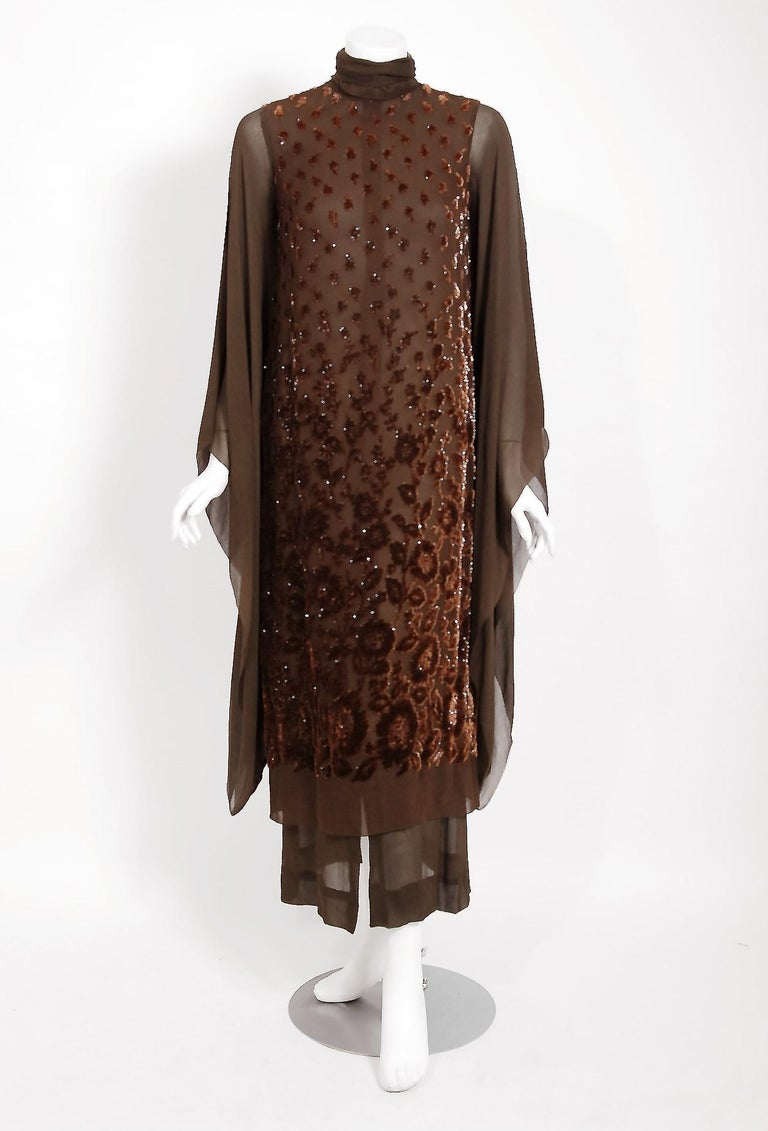 Black 1969 Christian Dior Haute-Couture Brown Floral Flocked Silk Kimono Sleeve Gown For Sale