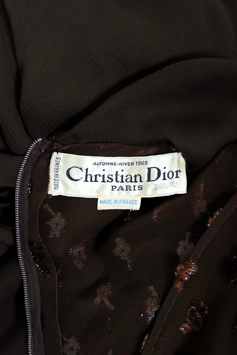 1969 Christian Dior Haute-Couture Brown Floral Flocked Silk Kimono Sleeve Gown For Sale 3